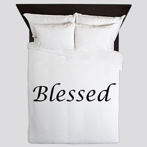 Blessed Calligraphy Style Queen Duvet