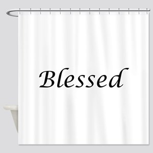 Blessed Calligraphy Style Shower Curtain