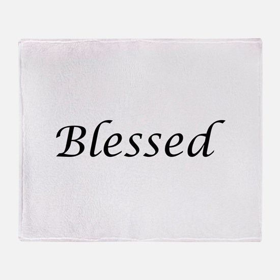 Blessed Calligraphy Style Throw Blanket
