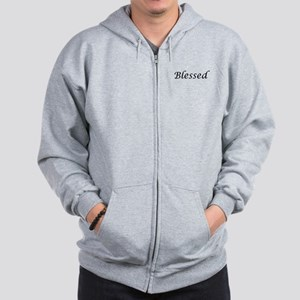 Blessed Calligraphy Style Zip Hoodie