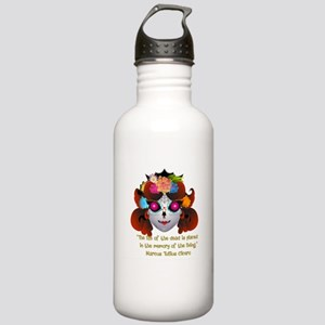 Sugar Skull with Quote Water Bottle