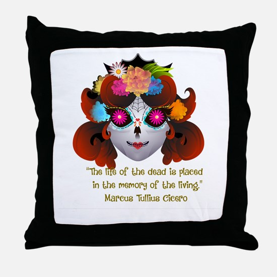 Sugar Skull with Quote Throw Pillow