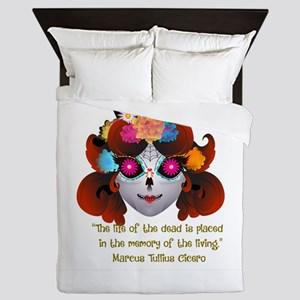 Sugar Skull with Quote Queen Duvet
