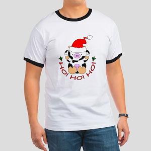 Cartoon Cow Santa Ringer T