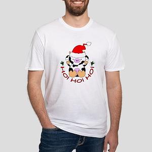 Cartoon Cow Santa Fitted T-Shirt