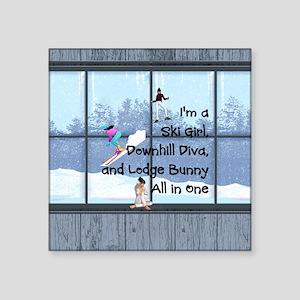"Ski Diva Square Sticker 3"" x 3"""