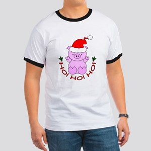Cartoon Pig Santa Ringer T
