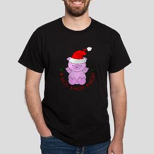 Cartoon Pig Santa Dark T-Shirt