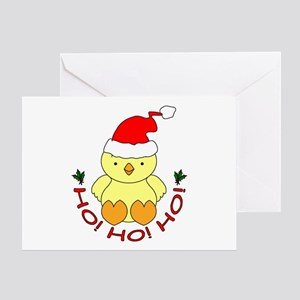 Cartoon Chicken Santa Greeting Card