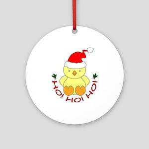 Cartoon Chicken Santa Ornament (Round)