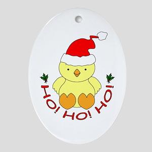Cartoon Chicken Santa Ornament (Oval)