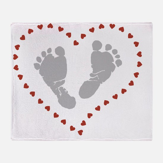 Funny Baby footprints Throw Blanket