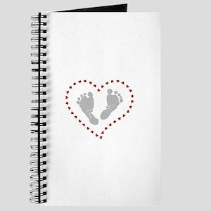 Baby Footprints in Heart of Hearts Journal