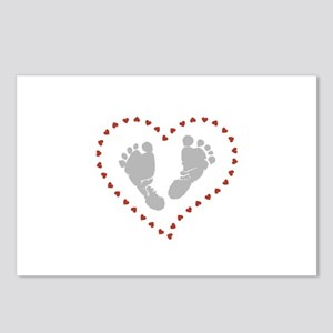 Baby Footprints in Heart Postcards (Package of 8)