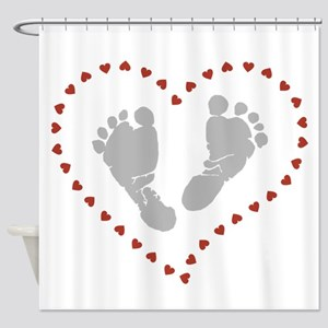 Baby Footprints in Heart of Hearts Shower Curtain