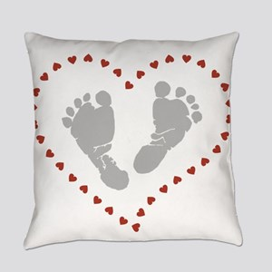 Baby Footprints in Heart of Hearts Everyday Pillow