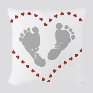 Baby Footprints in Heart of He Woven Throw Pillow