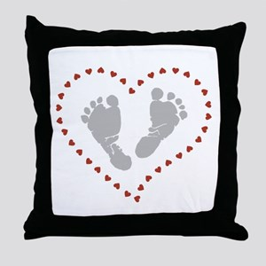 Baby Footprints in Heart of Hearts Throw Pillow