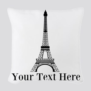 Personalizable Eiffel Tower Woven Throw Pillow