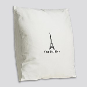 Personalizable Eiffel Tower Burlap Throw Pillow