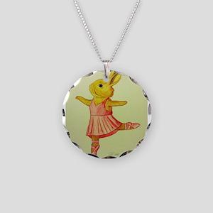 Ballerina Bunny Necklace Circle Charm