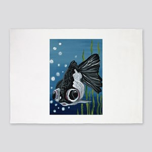 Panda Black Moor Goldfish 5'x7'Area Rug