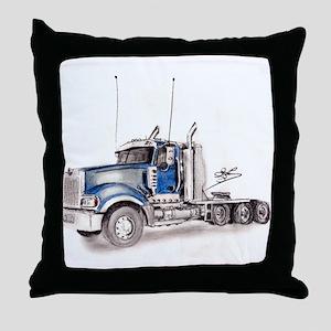 Blue Truck Throw Pillow