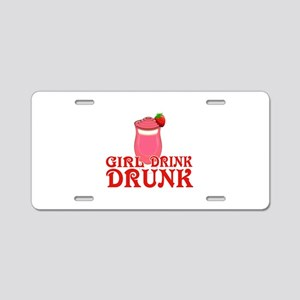 Funny Girl Drink Drunk Aluminum License Plate