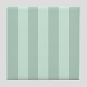 Striped Pastel Green Pattern Tile Coaster