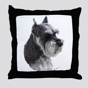 Schnauzer Portrait Art Throw Pillow