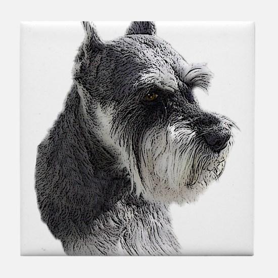 Schnauzer Portrait Art Tile Coaster