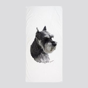 Schnauzer Portrait Art Beach Towel