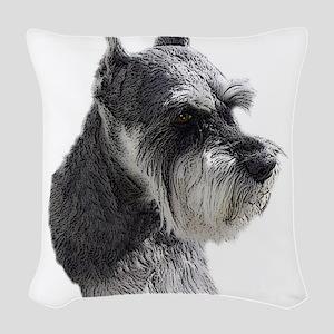 Schnauzer Portrait Art Woven Throw Pillow