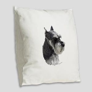 Schnauzer Portrait Art Burlap Throw Pillow