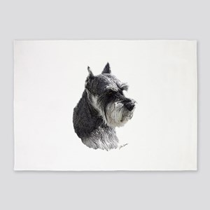 Schnauzer Portrait Art 5'x7'Area Rug