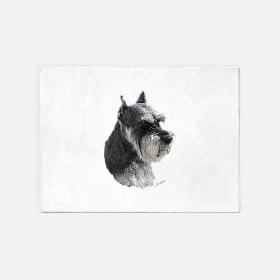 Schnauzer Portrait Art 5'x7'Area Rug