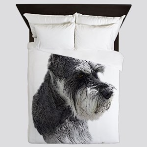 Schnauzer Portrait Art Queen Duvet