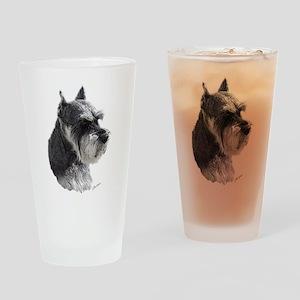 Schnauzer Portrait Art Drinking Glass