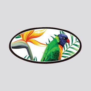 Colorful Parrot And Exotic Orange Flowers Patch