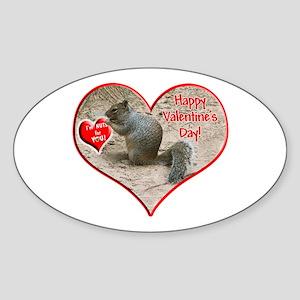 Helaine's Squirrel Valentine Oval Sticker