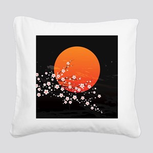 Asian Night Square Canvas Pillow