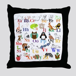 Alphabet Animals Throw Pillow