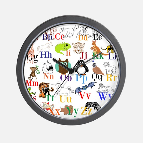 Alphabet Animals Wall Clock