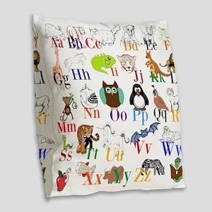 Alphabet Animals Burlap Throw Pillow