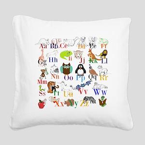 Alphabet Animals Square Canvas Pillow