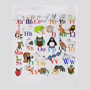 Alphabet Animals Throw Blanket