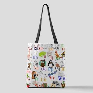 Alphabet Animals Polyester Tote Bag