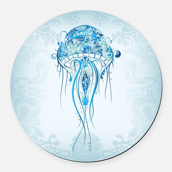 Jellyfish Round Car Magnet