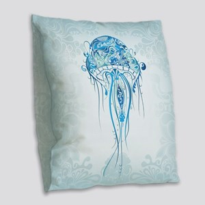 Jellyfish Burlap Throw Pillow