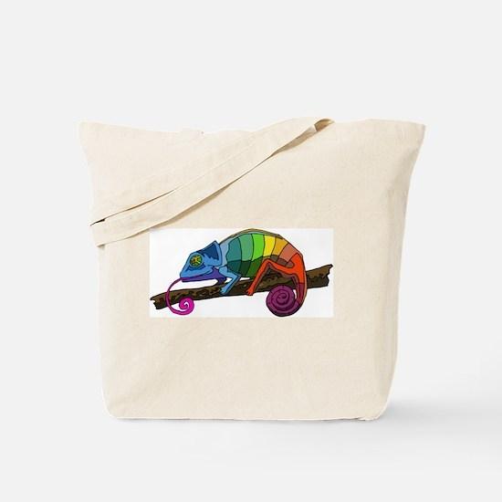 Rainbow Chameleon Tote Bag